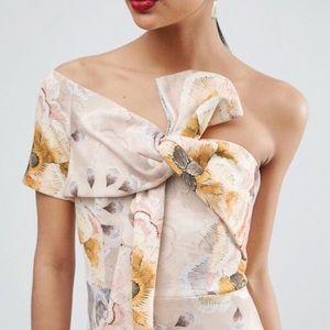 ASOS Tapestry Floral Bow One Shoulder Midi Dress